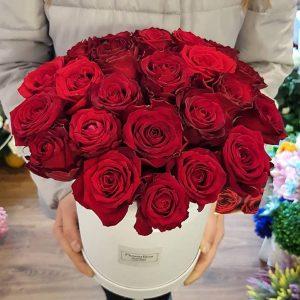 Kwiaty w pudełku Flower Box - bukiet z czerwonych róż